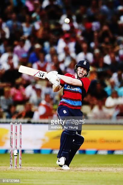 Eoin Morgan of England bats during the International Twenty20 match between New Zealand and England at Seddon Park on February 18 2018 in Hamilton...