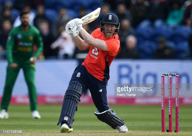 Eoin Morgan of England bats during the Twenty20 International match between England and Pakistan at Sophia Gardens on May 05, 2019 in Cardiff, United...
