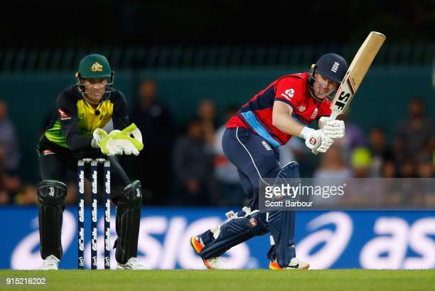 Eoin Morgan of England bats during the Twenty20 International match between Australia and England at Blundstone Arena on February 7 2018 in Hobart...