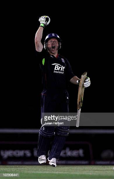 Eoin Morgan of England celebrates after scoring 103 in the 1st NatWest One Day International between England and Australia played at the Rosebowl on...
