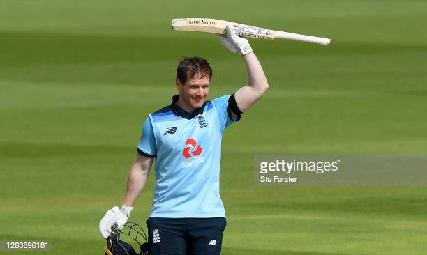 Eoin Morgan of England celebrates reaching his century during the Third One Day International between England and Ireland in the Royal London Series...