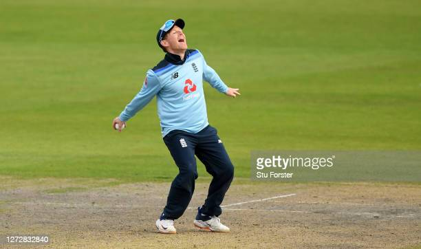 Eoin Morgan of England celebrates taking the catch of Marcus Stoinis of Australia during the 3rd Royal London One Day International Series match...