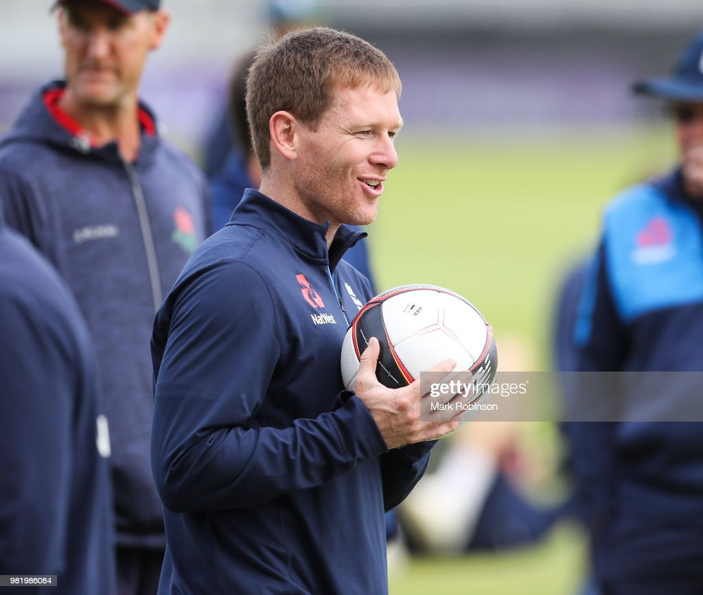 Eoin Morgan of England during a nets session at Old Trafford on June 23, 2018 in Manchester, England.
