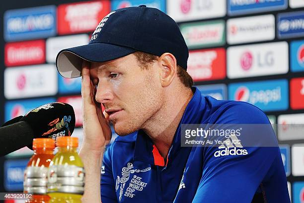 Eoin Morgan of England fronts the media at the press conference after the 2015 ICC Cricket World Cup match between England and New Zealand at...