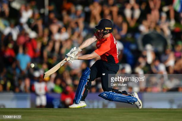 Eoin Morgan of England hits a six during the Third T20 International match between South Africa and England at SuperSport Park on February 16 2020 in...
