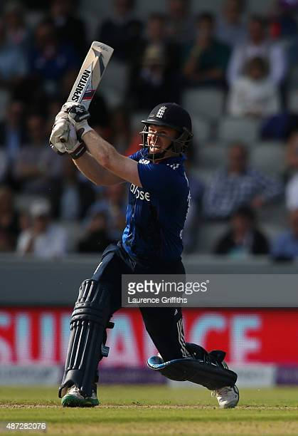Eoin Morgan of England hits out during the 3rd Royal London OneDay International match between England and Australia at Old Trafford on September 8...