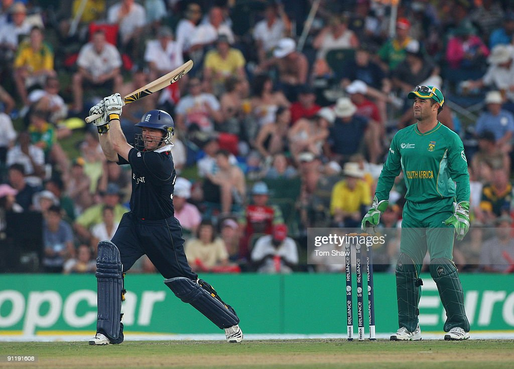 Eoin Morgan Of England Hits Out During The ICC Champions Trophy Group B Match BetweenSouth Africa