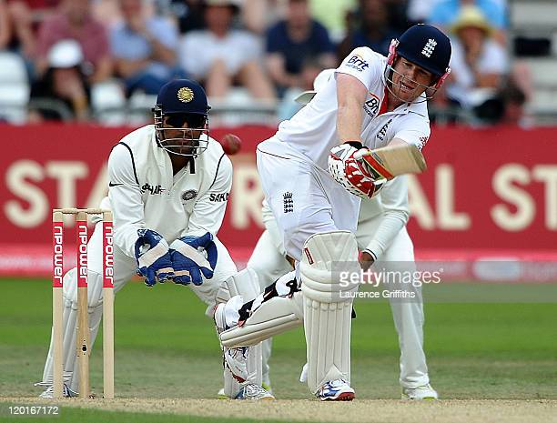 Eoin Morgan of England hits out during the second npower Test match between England and India at Trent Bridge on July 31, 2011 in Nottingham, England.