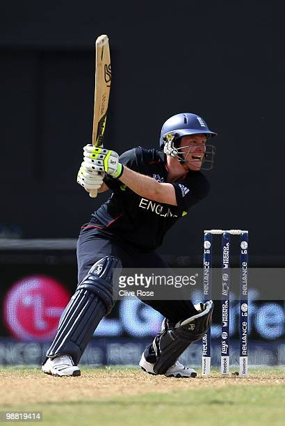 Eoin Morgan of England in action during the ICC T20 World Cup Group D match between West Indies and England at the Guyana National Stadium Cricket...