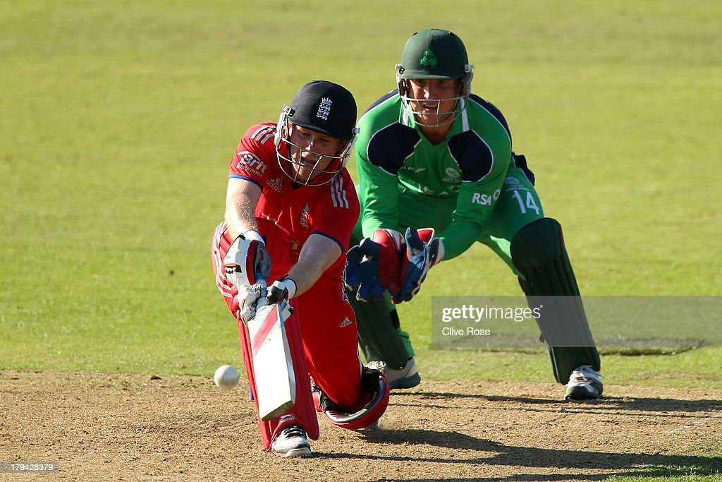 Eoin Morgan of England in action during the RSA Challenge One Day International match between Ireland and England on September 3, 2013 in Malahide, Ireland.