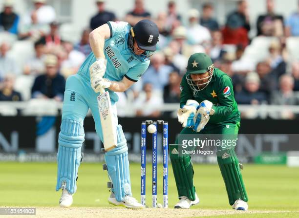 Eoin Morgan of England is bowled by Mohammad Hafeez during the Group Stage match of the ICC Cricket World Cup 2019 between England and Pakistan at...
