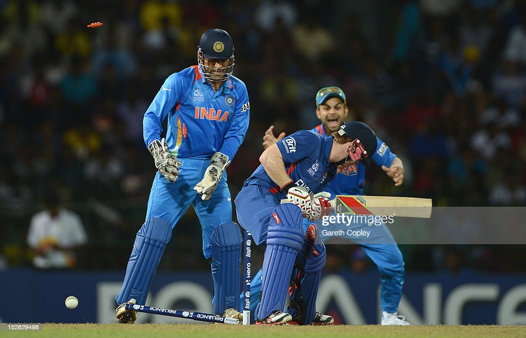 Eoin Morgan of England is bowled Harbhajan Singh of India during the ICC World Twenty20 2012 Group A match between England and India at R. Premadasa Stadium on September 23, 2012 in Colombo, Sri Lanka.