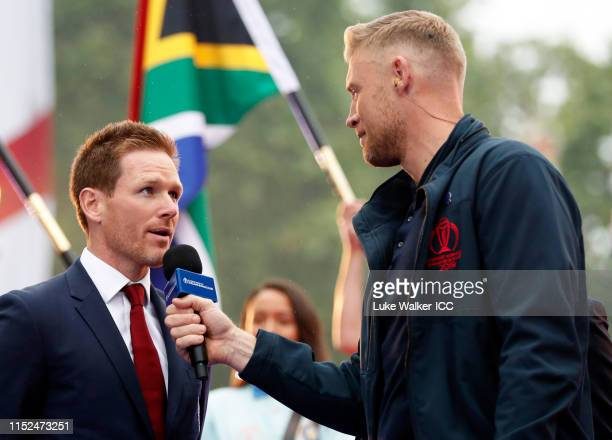 Eoin Morgan of England is interviewed by Andrew Flintoff during the ICC Cricket World Cup 2019 Opening Party at The Mall on May 29, 2019 in London,...