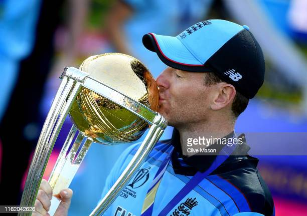 Eoin Morgan of England kisses the trophy after the Final of the ICC Cricket World Cup 2019 between New Zealand and England at Lord's Cricket Ground...