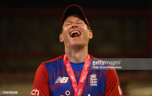 Eoin Morgan of England laughs as he is interviewed after the 3rd Vitality T20 International between England and Pakistan at Emirates Old Trafford on...