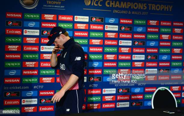 Eoin Morgan of England leaves the press conference during the ICC Champions Trophy Semi Final match between England and Pakistan at the SWALEC...