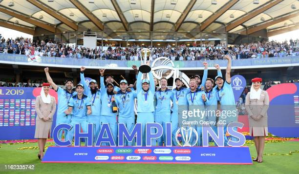 Eoin Morgan of England lifts the Cricket World Cup Trophy during the Final of the ICC Cricket World Cup 2019 between New Zealand and England at...