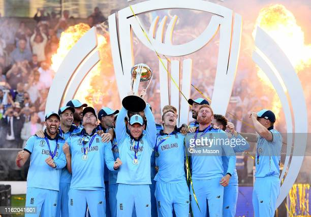 Eoin Morgan of England lifts the world cup trophy after the Final of the ICC Cricket World Cup 2019 between New Zealand and England at Lord's Cricket...