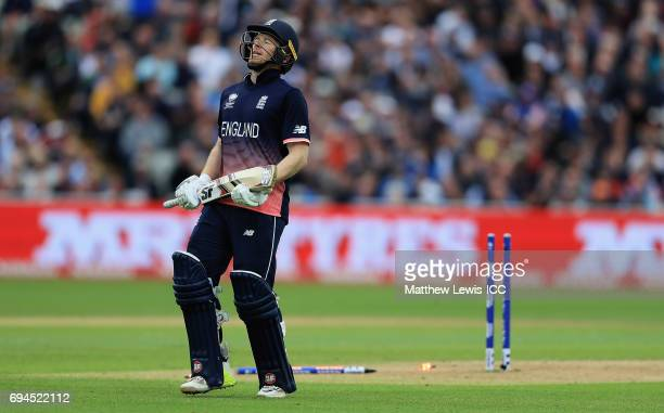 Eoin Morgan of England looks on after being run out by Adam Zampa of Australia during the ICC Champions Trophy match between England and Australia at...