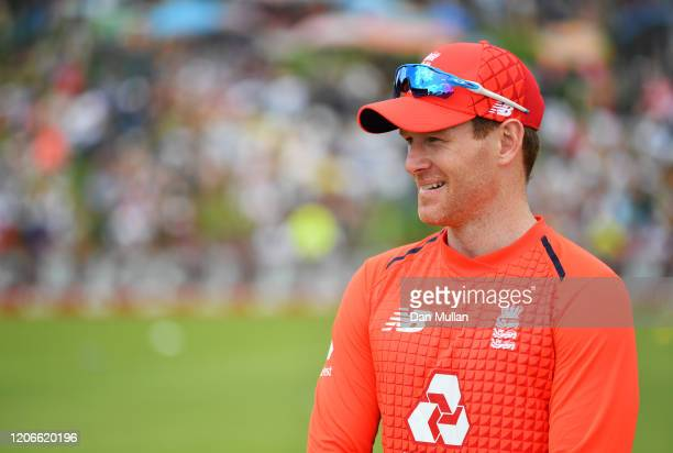 Eoin Morgan of England looks on ahead of the Third T20 International match between South Africa and England at Supersport Park on February 16 2020 in...