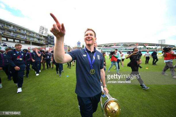 Eoin Morgan of England parades the trophy during the England ICC World Cup Victory Celebration at The Kia Oval on July 15, 2019 in London, England.