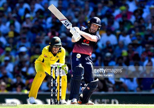 Eoin Morgan of England plays a shot during game three of the One Day International series between Australia and England at Sydney Cricket Ground on...