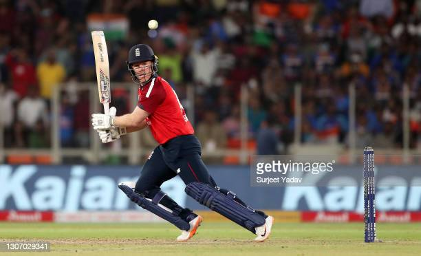 Eoin Morgan of England plays a shot during the 2nd T20 International match between India and England at Narendra Modi Stadium on March 14, 2021 in...