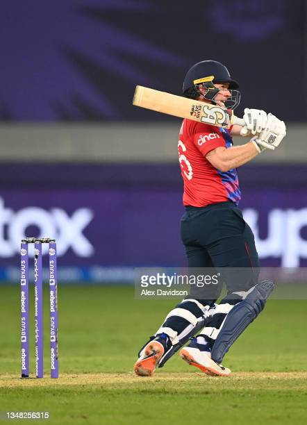 Eoin Morgan of England plays a shot during the ICC Men's T20 World Cup match between England and Windies at Dubai International Stadium on October...