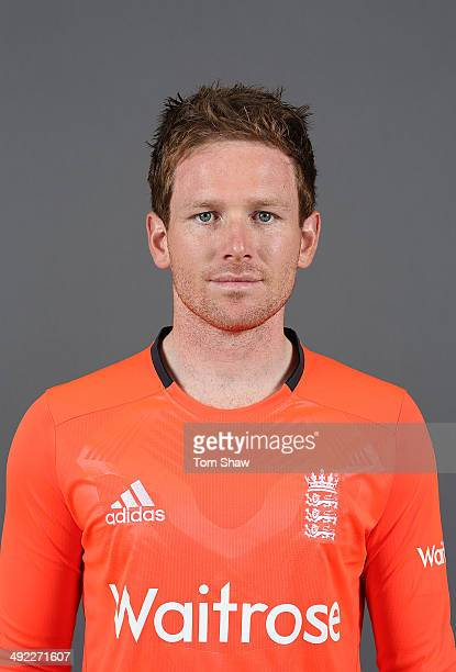 Eoin Morgan of England poses for a headshot during the England nets session at The Kia Oval on May 19 2014 in London England