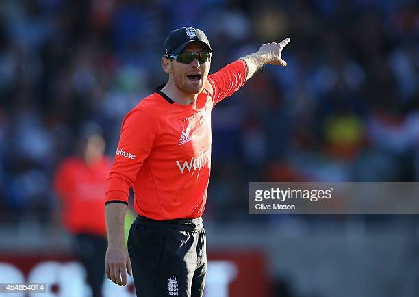 Eoin Morgan of England sets the field during the last over during the NatWest International T20 2014 match between England and India at Edgbaston on...