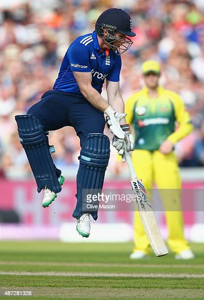 Eoin Morgan of England takes evasive action as the ball is thrown in during the 3rd Royal London OneDay International match between England and...