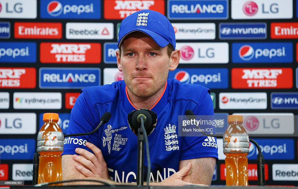 Eoin Morgan of England talks to the media after the 2015 Cricket World Cup match between England and Afghanistan at Sydney Cricket Ground on March 13, 2015 in Sydney, Australia.