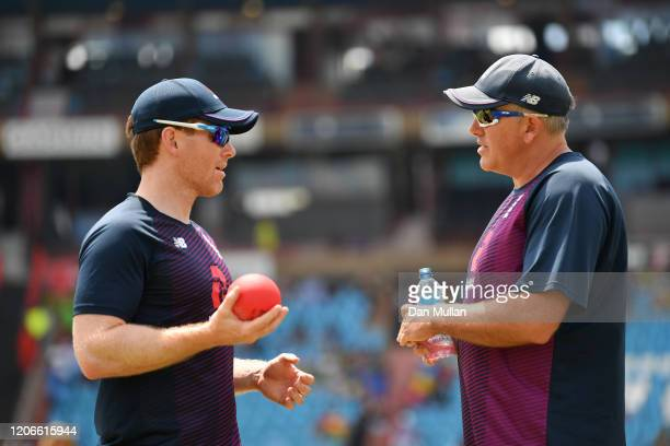 Eoin Morgan of England talks with Chris Silverwood Head Coach of England during the warmup ahead of the Third T20 International match between South...