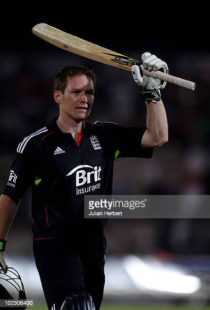 Eoin Morgan of England walks of after scoring 103 in the 1st NatWest One Day International between England and Australia played at the Rosebowl on...