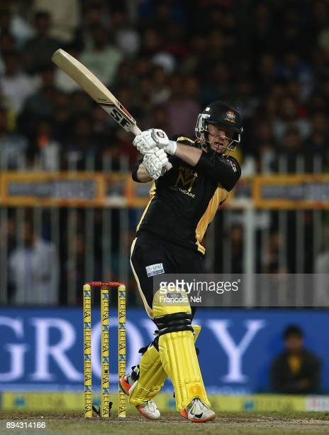 Eoin Morgan of Kerela Kings bats during the T10 League Final match between Kerela Kings and Punjabi Legends at Sharjah Cricket Stadium on December 17...