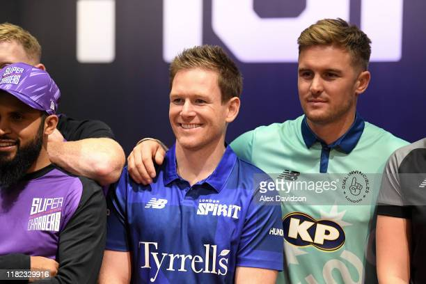 Eoin Morgan of London Spirit and Jason Roy of Oval Invincibles look on as players for the eight teams in The Hundred line up following The Hundred...