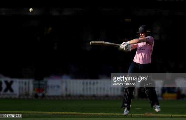 Eoin Morgan of Middlesex bats during the Vitality Blast match between Middlesex and Essex Eagles at Lords on August 16 2018 in London England