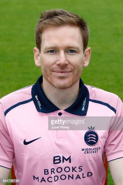 Eoin Morgan of Middlesex poses for a photo during Middlesex CCC Photocall at Lord's Cricket Ground on April 11 2018 in London England