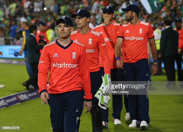 Eoin Morgan the captain of England leads his team off after defeat to Pakistan in the NatWest International T20 match between England and Pakistan at...