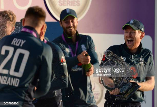 Eoin Morgan with the trophy after England won the 3rd Royal London OneDay International between England and India at Headingley on July 17 2018 in...
