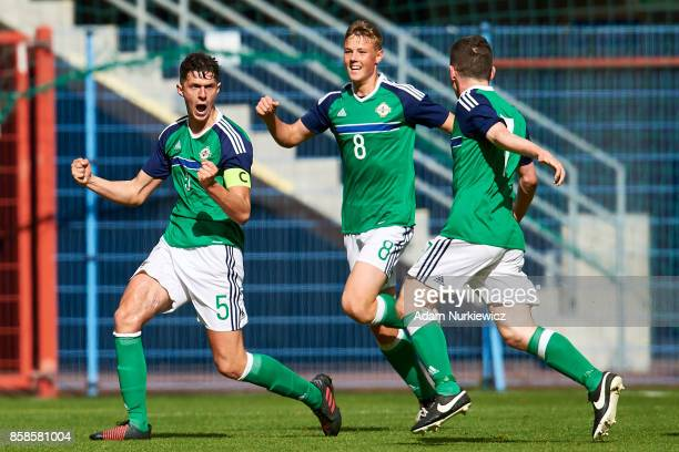 Eoin Toal of U19 Northern Ireland celebrates with team mates after scoring during soccer match U19 Germany v U19 Northern Ireland UEFA Under19 Euro...