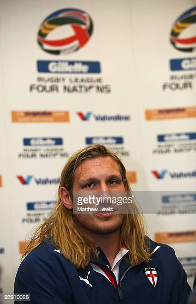 Eorl Crabtree of the England Rugby League Team pictured during a Press Conference at Elland Road on November 9 2009 in Leeds England