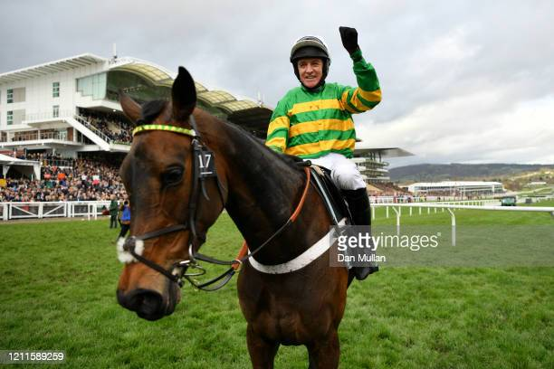 Epatante ridden by Barry Geraghty celebrate winning the Unibet Champion Hurdle Challenge Trophy at Cheltenham Racecourse on March 10 2020 in...