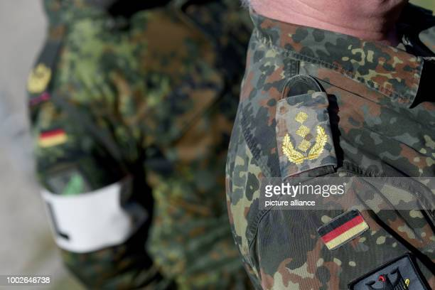Epaulettes on the uniform of a soldier in Waabs, Germany, 15 May 2017. Around 3,500 Nato soldiers are participating in military manoeuvres in the...
