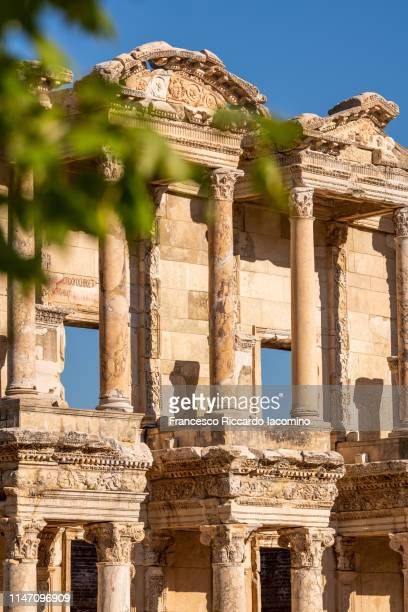 ephesus, celsus library ruins - ephesus stock pictures, royalty-free photos & images