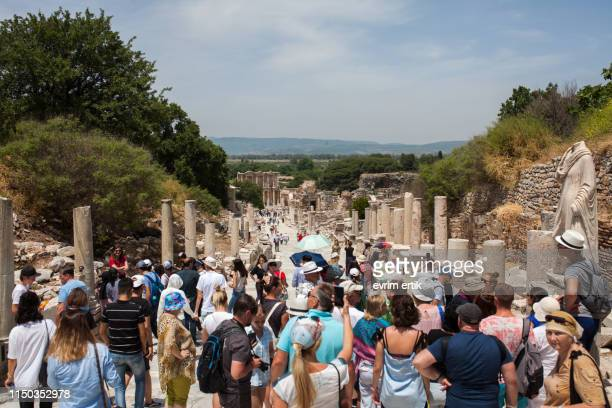 ephesus ruins of the ancient city - ephesus stock pictures, royalty-free photos & images