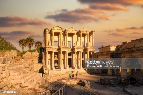 ephesus, turkey. library of celsus at sunrise, beautiful sky - international landmark stock pictures, royalty-free photos & images