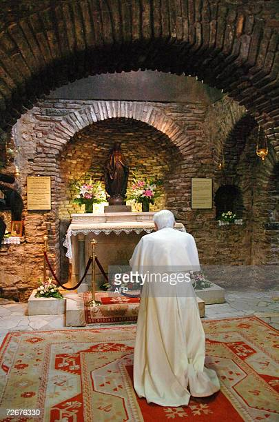 Pope Benedict XVI prays in the Chapel of the Capuchins' convent at the House of the Virgin Mary near Ephesus 29 November 2006 The Pope has begun the...