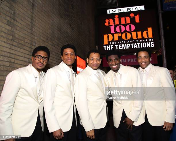 Ephraim Sykes Jeremy Pope Derrick Baskin Jawan M Jackson and James Harkness starring in Ain't Too Proud The Life And Times Of The Temptations after...
