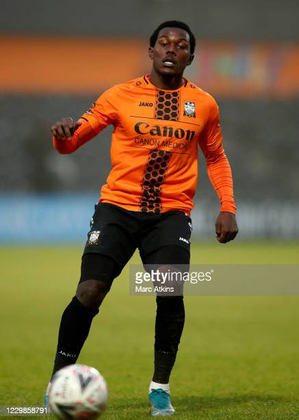 Ephron Mason-Clark of Barnet during the Emirates FA Cup Second Round match between Barnet FC and Milton Keynes Dons at The Hive London on November...